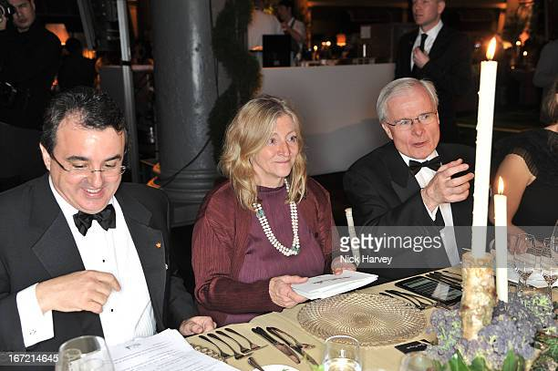 Rosie Boycott and Bernard Emie attend as Relais Chateaux present 'Diner Des Grands Chefs London 2013' at The Old Billingsgate on April 22 2013 in...