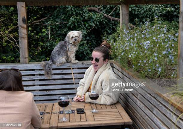 Rosie Brantingham drinks wine whilst speaking to her friend Rachael Newton and her dog Boo looks on in the garden of the The Duke of Kent pub which...