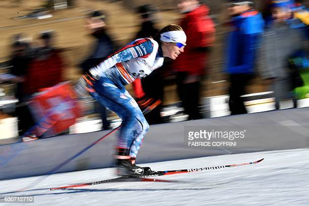 Rosie Brennan of the US competes in the women's 15 km sprint free qualification of the FIS cross country Tour De Ski event on December 31 2016 in...