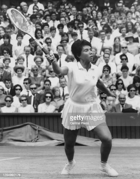 Rosie Casals of the United States reaches to deliver a forehand return on her way to losing to Ann Jones of Great Britain 26 6375 in their Women's...