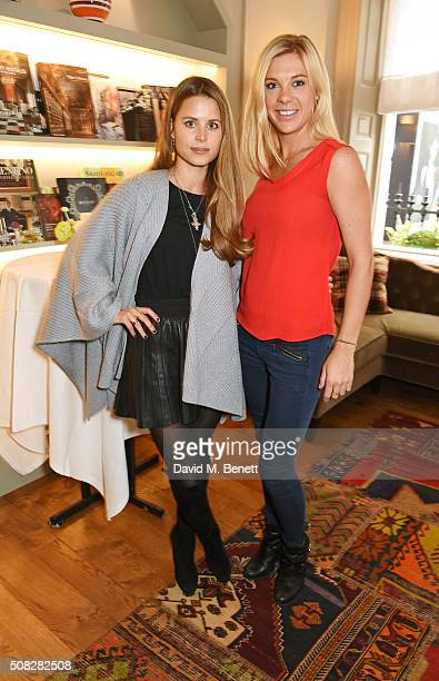 Rosie Fortescue and Chelsy Davy attend the launch of Forte Organics hosted by Irene Forte at Brown's Hotel a Rocco Forte Hotel on February 4 2016 in...
