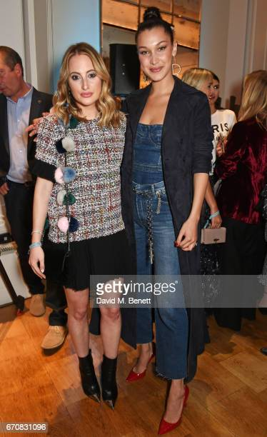 Rosie Fortescue and Dior spokesmodel Bella Hadid celebrate the launch of the new Dior Pump 'N' Volume Mascara at Selfridges on April 20 2017 in...