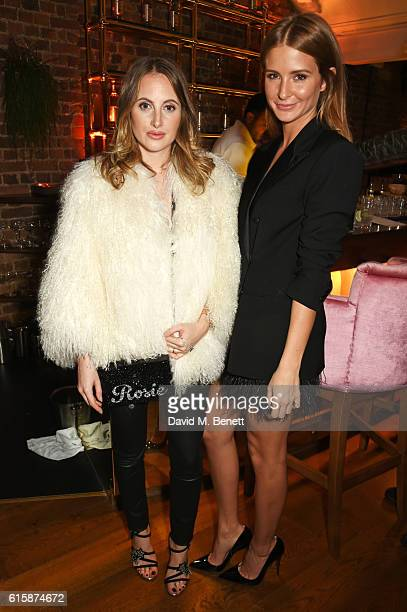 Rosie Fortescue and Millie Mackintosh attend the Tatler Little Black Book party with Polo Ralph Lauren at Restaurant Ours on October 20, 2016 in...