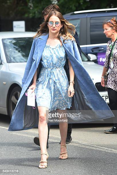 Rosie Fortescue arrives for Day 2 of Wimbledon on June 28 2016 in London England