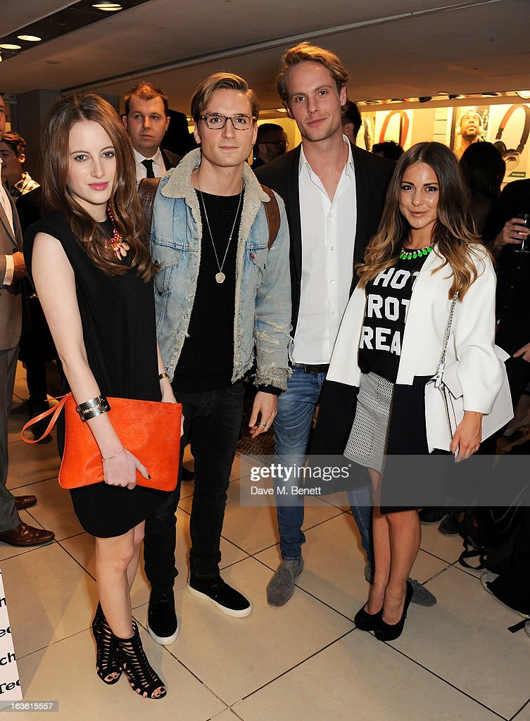 Rosie Fortescue, Oliver Proudlock, Jack Fox and Louise Thompson attend the Panasonic Technics 'Shop To The Beat' Party hosted by George Lamb at French Connection, Oxford Circus, on March 13, 2013 in London, England.