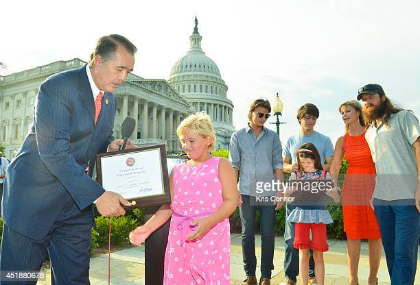 Rosie Fox receives a Certificate of Special Congressional Recognition from Rep Trent Franks during a press conference to Raise Awareness For Cleft...