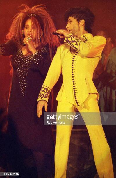 Rosie Gaines performs on stage with Prince on his Diamonds & Pearls Tour, Ahoy, Rotterdam, Netherlands, 6th July 1992.