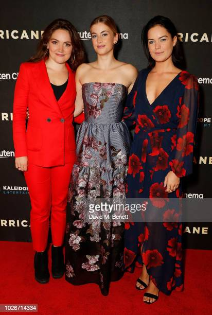 Rosie Gray Stefanie Martini and Emily Wyatt attend the UK Premiere of Hurricane at Vue Leicester Square on September 4 2018 in London England