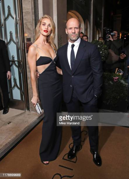 Rosie Huntington Whiteley and Jason Statham attend Harper's Bazaar Women Of The Year Awards 2019 at Claridge's Hotel on October 29, 2019 in London,...