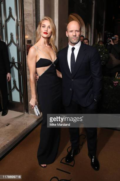Rosie Huntington Whiteley and Jason Statham attend Harper's Bazaar Women Of The Year Awards 2019 at Claridge's Hotel on October 29 2019 in London...