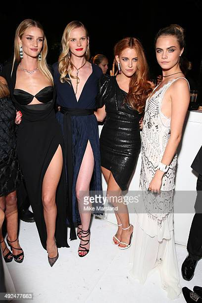 Rosie Huntington Whiteley Anne Vyalitsyna Riley Keough and Cara Delevingne attend the De Grisogono dinner party in collaboration with Gyunel during...