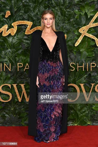 Rosie Huntington Whiteley arrives at The Fashion Awards 2018 In Partnership With Swarovski at Royal Albert Hall on December 10 2018 in London England