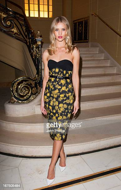 Rosie Huntington Whiteley attends a Vogue dinner hosted by Alexandra Shulman in honour of Michael Kors at Cafe Royal on April 25 2013 in London...