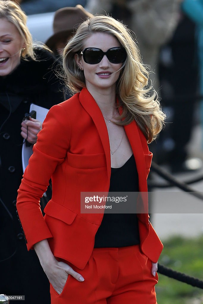 Rosie Huntington Whiteley is pictured arriving at Burberry Prorsum during London Fashion Week on February 18, 2013 in London, England.