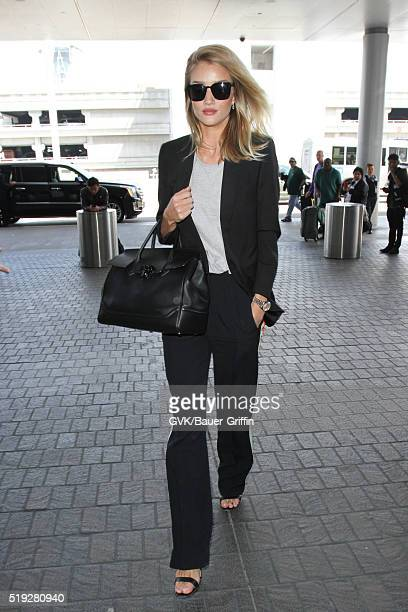 Rosie Huntington Whiteley is seen at LAX on April 05 2016 in Los Angeles California