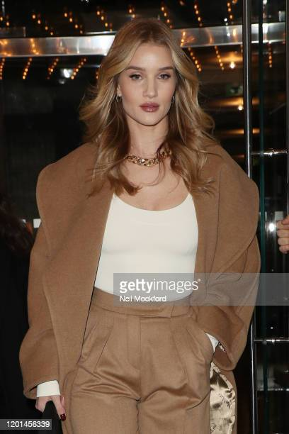 Rosie Huntington Whiteley seen leaving The Edition Hotel on January 23, 2020 in London, England.