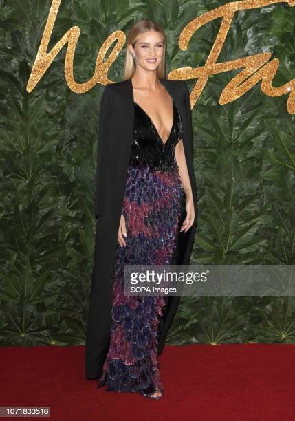 Rosie Huntington Whiteley seen on the red carpet during the Fashion Awards 2018 at the Royal Albert Hall Kensington in London