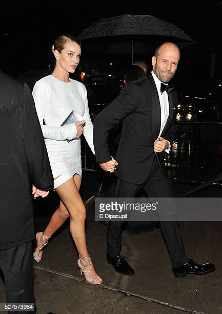 Rosie HuntingtonWhiteley and Jason Statham are seen arriving at The Standard High Line on May 2 2016 in New York City