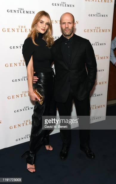 """Rosie Huntington-Whiteley and Jason Statham attend a special screening of """"The Gentlemen"""" at The Curzon Mayfair on December 03, 2019 in London,..."""