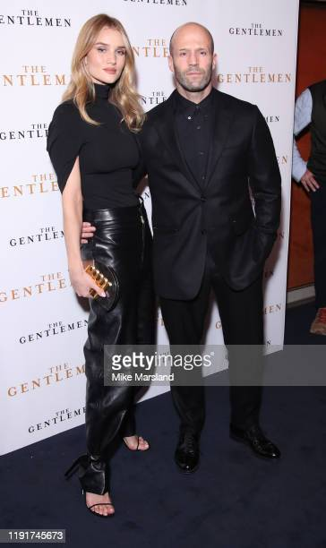 Rosie HuntingtonWhiteley and Jason Statham attend The Gentleman Special Screening at The Curzon Mayfair on December 03 2019 in London England