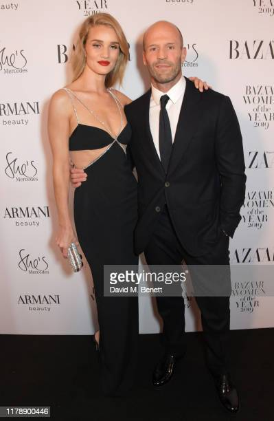 Rosie Huntington-Whiteley and Jason Statham attend the Harper's Bazaar Women of the Year Awards 2019, in partnership with Armani Beauty, at...