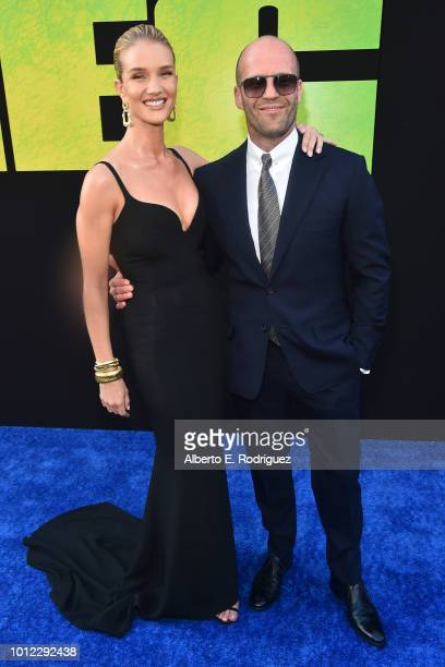 Rosie HuntingtonWhiteley and Jason Statham attend the premiere of Warner Bros Pictures And Gravity Pictures' The Meg at TCL Chinese Theatre IMAX on...