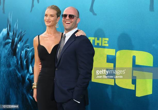 Rosie HuntingtonWhiteley and Jason Statham attend the premiere of Warner Bros Pictures and Gravity Pictures' Premiere of The Meg on August 06 2018 in...