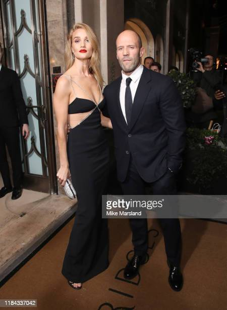 Rosie Huntington-Whiteley and Jason Statham attends Harper's Bazaar Women Of The Year Awards 2019 at Claridge's Hotel on October 29, 2019 in London,...