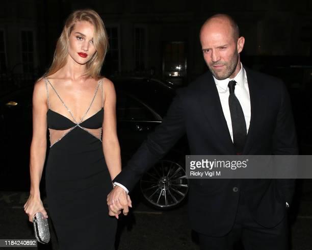 Rosie Huntington-Whiteley and Jason Statham seen attending Harper's Bazaar Women of the Year Awards at Claridge's on October 29, 2019 in London,...