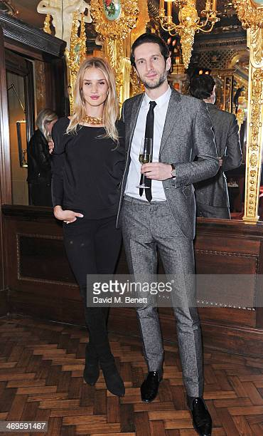 Rosie HuntingtonWhiteley and Jonathan Heaf attend the GRACE debut and AW14 dinner at Cafe Royal on February 15 2014 in London England