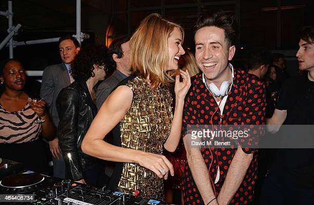 Rosie HuntingtonWhiteley and Nick Grimshaw attend the Universal Music Brits party hosted by Bacardi at The Soho House PopUp on February 25 2015 in...