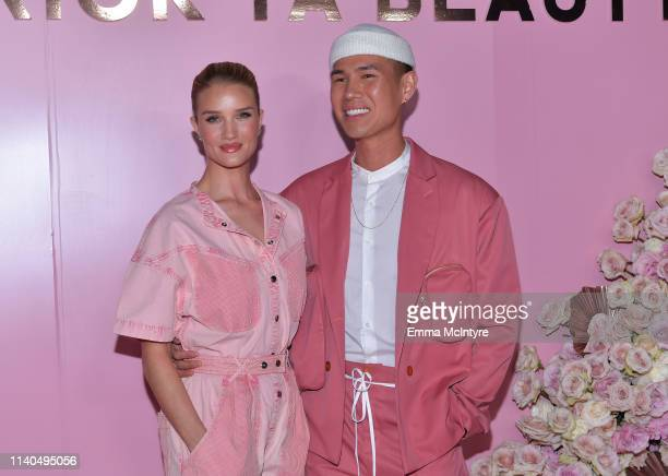 Rosie HuntingtonWhiteley and Patrick Ta attend the launch of Patrick Ta's Beauty Collection at Goya Studios on April 04 2019 in Los Angeles California