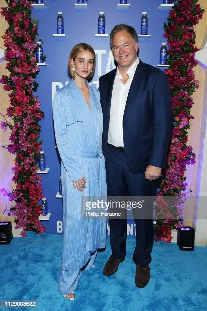 Rosie HuntingtonWhiteley and Vital Proteins CEO Kurt Seidensticker attend the Vital Proteins celebration for the launch of Collagen Water on March 6...