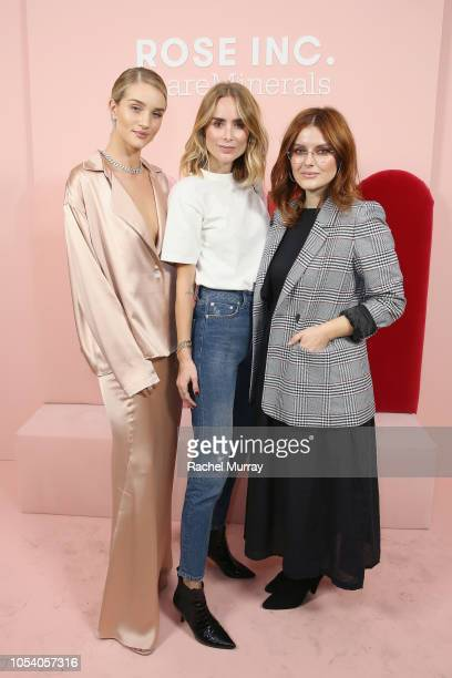 Rosie HuntingtonWhiteley Anine Bing and Katie Jane Hughes attend Rose Inc bareMinerals Beauty Master Class at Goya Studios on October 26 2018 in Los...