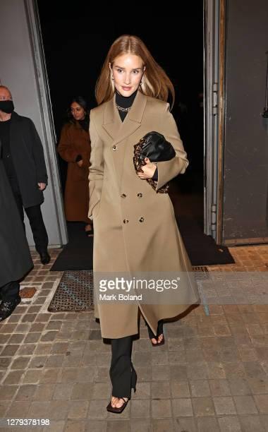 Rosie Huntington-Whiteley arrives at Bottega Veneta Salon 01 London collection presentation at Sadler's Wells Theatre on October 09, 2020 in London,...