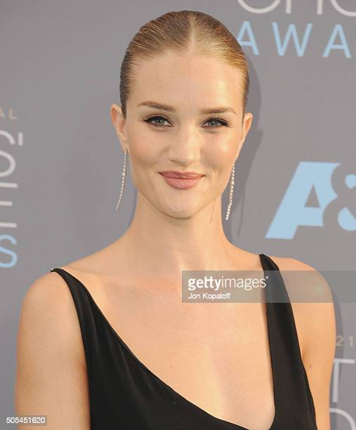 Rosie HuntingtonWhiteley arrives at The 21st Annual Critics' Choice Awards at Barker Hangar on January 17 2016 in Santa Monica California