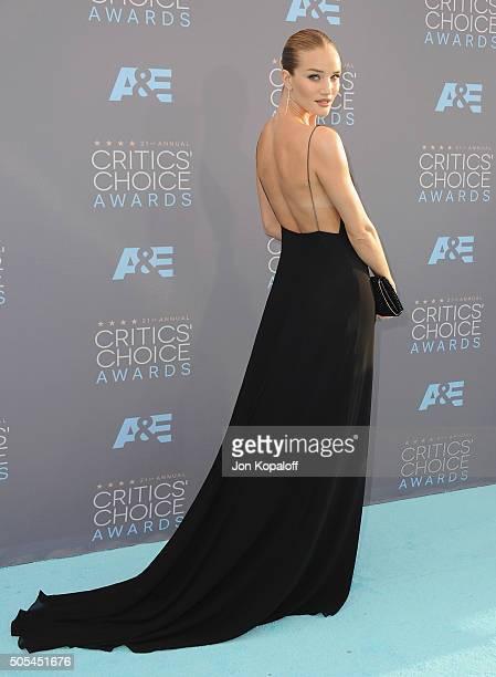 Rosie HuntingtonWhiteley arrives at The 21st Annual Critics' Choice Awards at Barker Hangar on January 17 2016 in Santa Monica California