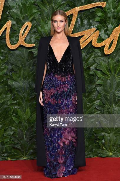 Rosie HuntingtonWhiteley arrives at The Fashion Awards 2018 In Partnership With Swarovski at Royal Albert Hall on December 10 2018 in London England