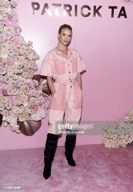 Rosie HuntingtonWhiteley arrives at the launch of Patrick Ta's Beauty Collection at Goya Studios on April 04 2019 in Los Angeles California