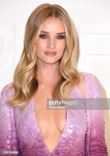 Rosie Huntington-Whiteley arrives at the Tom Ford AW20 Show at Milk Studios on February 07, 2020 in Hollywood, California.