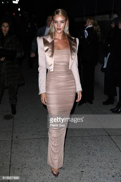 Rosie HuntingtonWhiteley arrives at the Tom Ford show during the New York Fashion Week on February 8 2018 in New York City