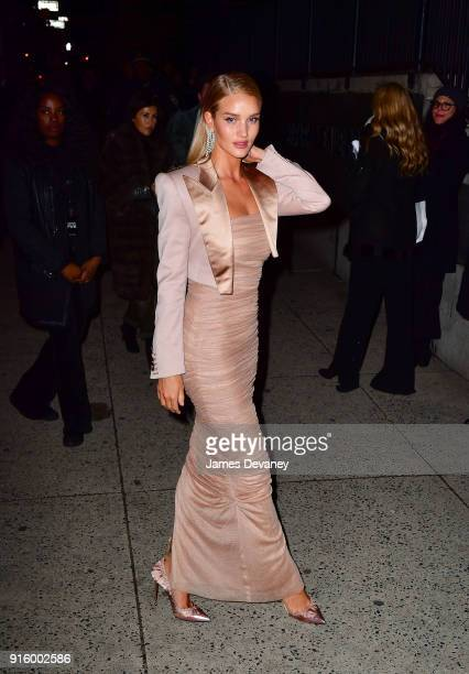 Rosie HuntingtonWhiteley arrives to the Tom Ford Women's Fall/Winter 2018 fashion show during New York Fashion Week at Park Avenue Armory on February...