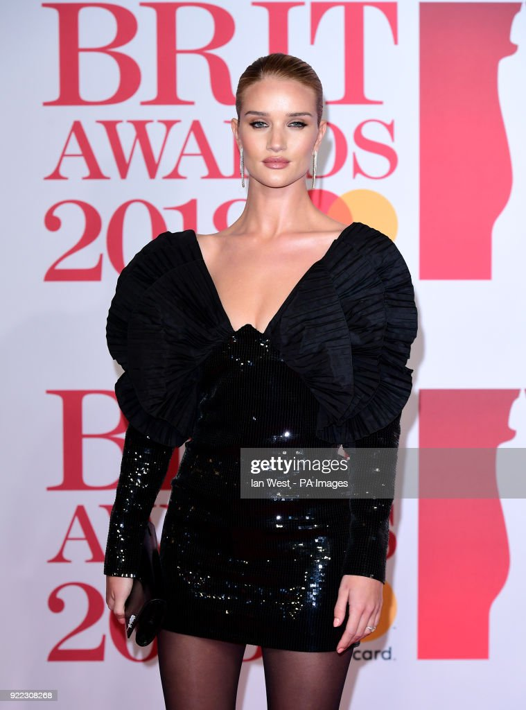 Rosie Huntington-Whiteley attending the Brit Awards at the O2 Arena, London.