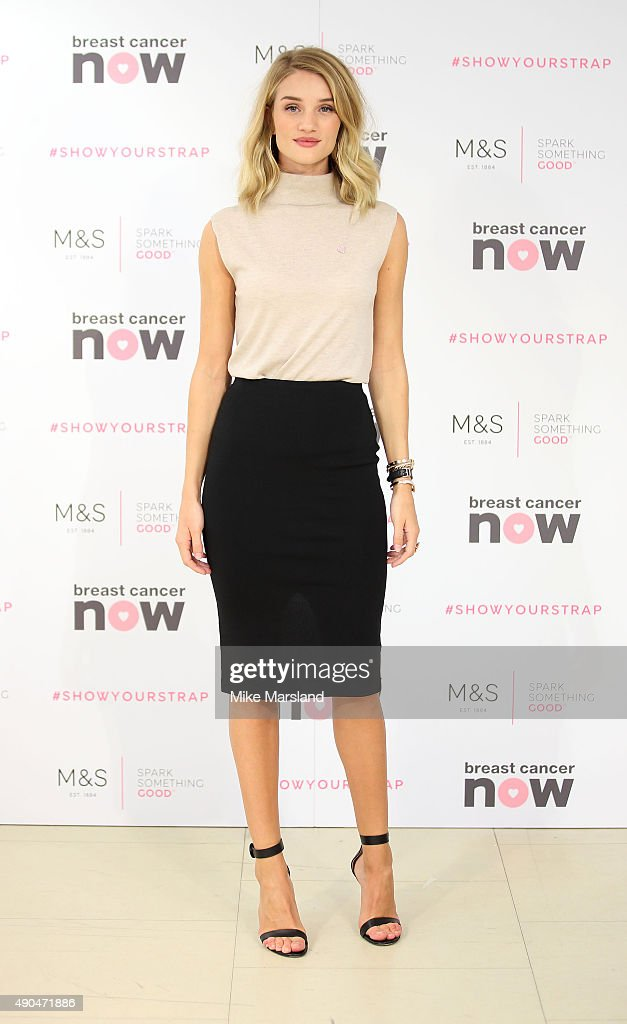 Rosie Huntington-Whiteley Launches New M&S Lingerie Range In Partnership With Breast Cancer Awareness : News Photo