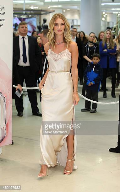 Rosie HuntingtonWhiteley attends a photocall to launch her new fragrance 'Rosie for Autograph' for MS at Marks Spencer Marble Arch on January 29 2015...