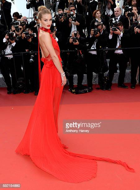 Rosie HuntingtonWhiteley attends a screening of The Unknown Girl at the annual 69th Cannes Film Festival at Palais des Festivals on May 18 2016 in...