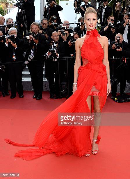 Rosie HuntingtonWhiteley attends a screening of 'The Unknown Girl ' at the annual 69th Cannes Film Festival at Palais des Festivals on May 18 2016 in...