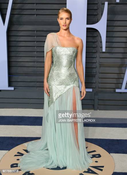 Rosie HuntingtonWhiteley attends the 2018 Vanity Fair Oscar Party following the 90th Academy Awards at The Wallis Annenberg Center for the Performing...