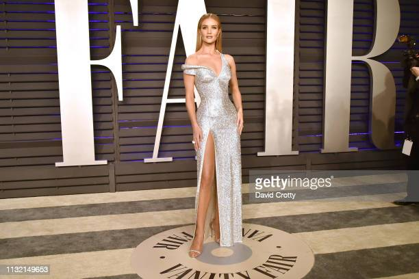 Rosie Huntington-Whiteley attends the 2019 Vanity Fair Oscar Party at Wallis Annenberg Center for the Performing Arts on February 24, 2019 in Beverly...