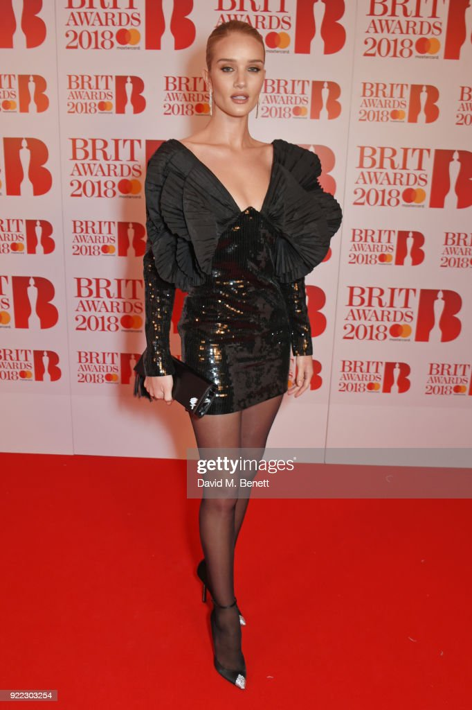 Rosie Huntington-Whiteley attends The BRIT Awards 2018 held at The O2 Arena on February 21, 2018 in London, England.